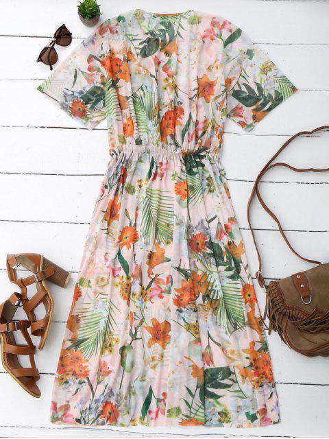 Robe mi-longue en élastique - Floral L Mobile