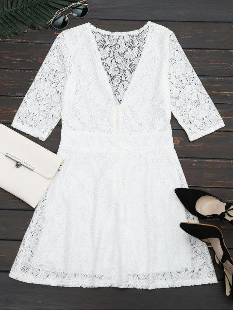 ladies Plunging Neck Half Zip Lace Dress - WHITE S Mobile