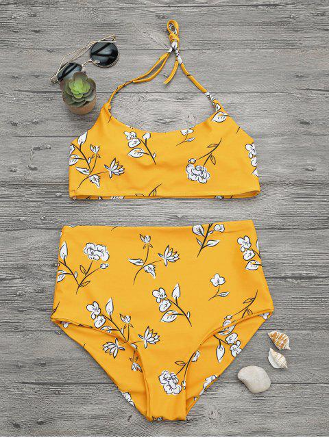 affordable Slimming Control High Waisted Bralette Bikini Set - MUSTARD L Mobile