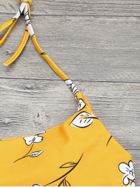 affordable Slimming Control High Waisted Bralette Bikini Set - MUSTARD L Mobile