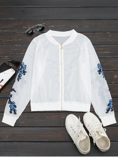 affordable Floral Print Zip Up Jacket - BLUE M Mobile