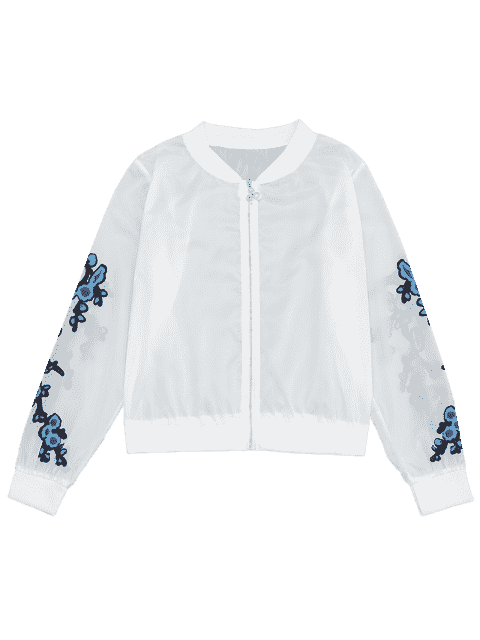 womens Floral Print Zip Up Jacket - BLUE L Mobile