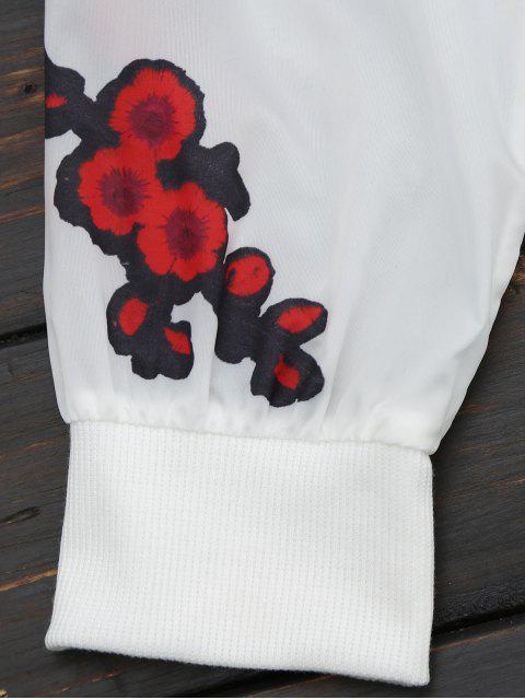 ladies Floral Print Zip Up Jacket - RED XL Mobile