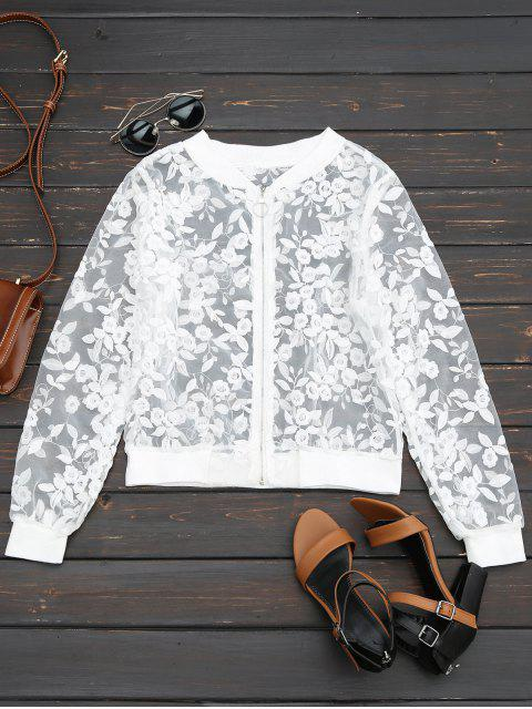 trendy Sheer Floral Embroidered Zip Up Jacket - WHITE M Mobile
