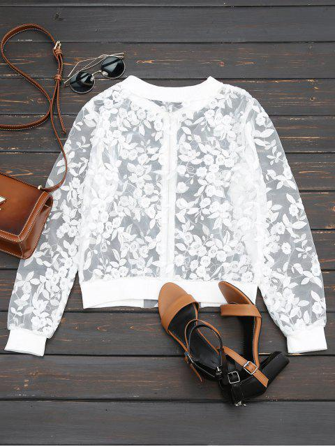 fashion Sheer Floral Embroidered Zip Up Jacket - WHITE L Mobile