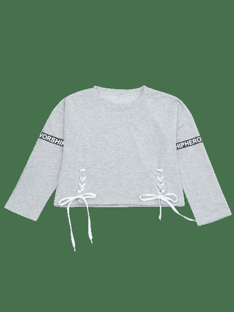 Sweat à carreaux imprimé à lettre - Gris Léger TAILLE MOYENNE Mobile