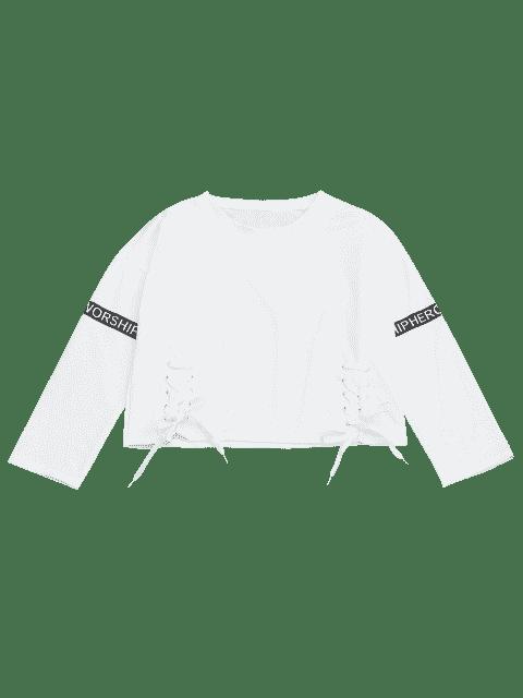 Sweat à carreaux imprimé à lettre - Blanc TAILLE MOYENNE Mobile