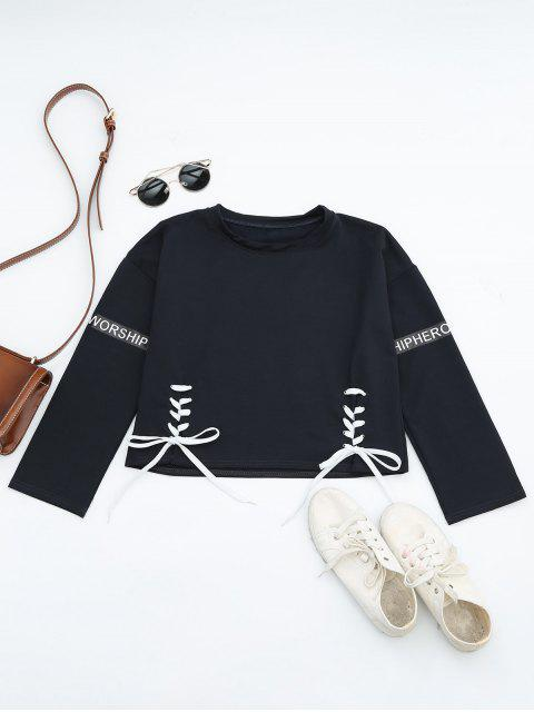 trendy Letter Print Lace Up Sweatshirt - PURPLISH BLUE ONE SIZE Mobile