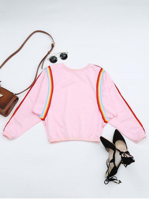 Camiseta de contraste de cuello de tripulación - Rosa Talla única Mobile