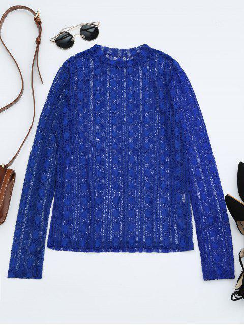 Blusa de encaje de manga larga transparente - Azul Zafiro Talla única Mobile