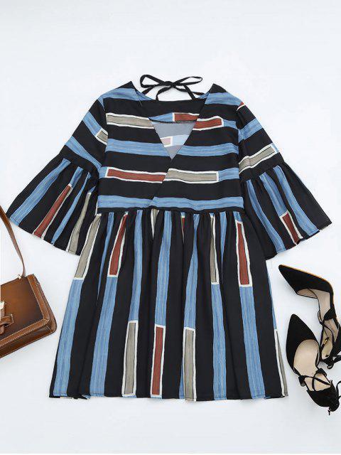 online Bell Sleeve V Neck Striped Dress - STRIPE ONE SIZE Mobile