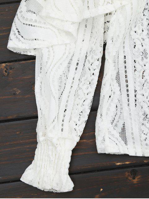 fashion Ruffle Hem Sheer Blouse - WHITE 2XL Mobile