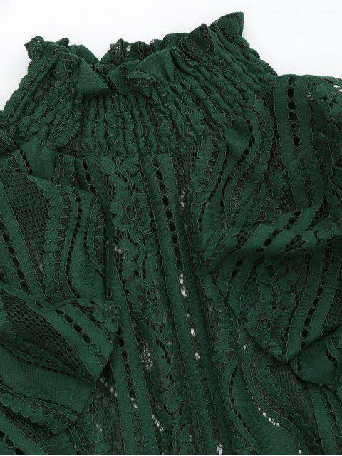 online Ruffle Hem Sheer Blouse - BLACKISH GREEN M Mobile