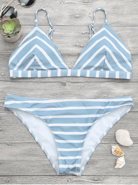 outfits Chevron Striped Cami Bikini Set - BLUE AND WHITE S Mobile