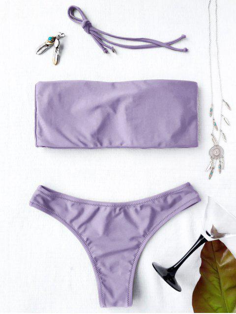 latest High Cut Bandeau Thong Bathing Suit - LIGHT PURPLE L Mobile