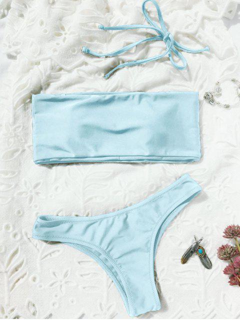 sale High Cut Bandeau Thong Bathing Suit - LIGHT BLUE M Mobile