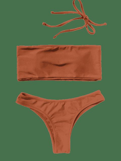 hot High Cut Bandeau Thong Bathing Suit - BRICK-RED L Mobile
