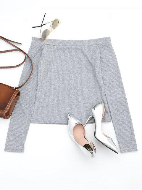 new Off The Shoulder Long Sleeve Crop Tee - GRAY S Mobile