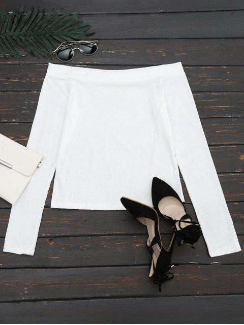 affordable Off The Shoulder Long Sleeve Crop Tee - WHITE L Mobile