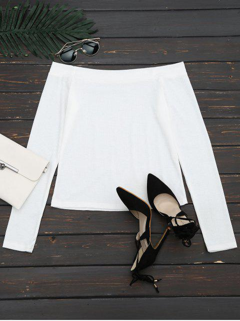 womens Off The Shoulder Long Sleeve Crop Tee - WHITE XL Mobile