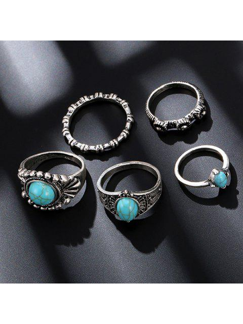 unique Bohemian Faux Turquoise Oval Ring Set - SILVER  Mobile