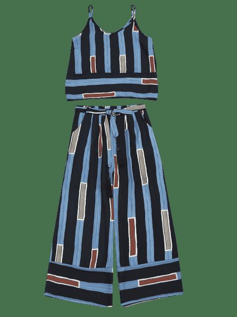 Top de camis rayé avec auto-pantalons Gaucho - Rayure S Mobile