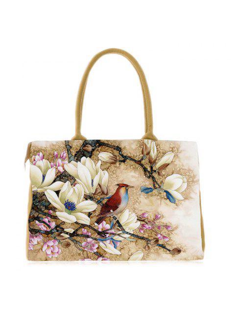 women Flower Printed Canvas Handbag - YELLOW  Mobile
