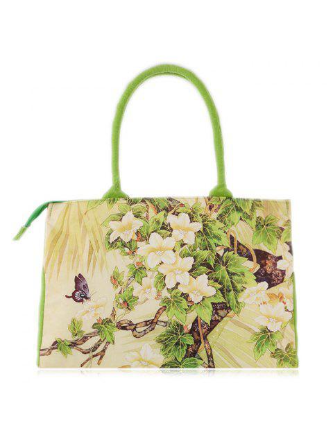 women's Flower Printed Canvas Handbag - GREEN  Mobile