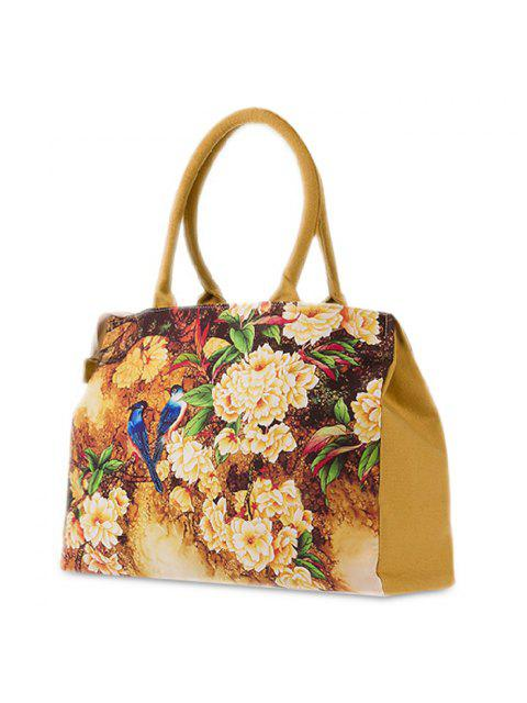 ladies Flower Printed Canvas Handbag - DEEP YELLOW  Mobile