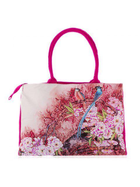 lady Flower Printed Canvas Handbag - ROSE RED  Mobile