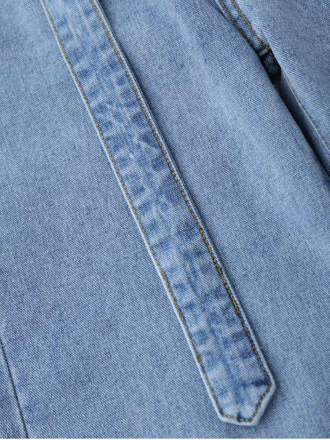 chic High Low Hem Cutoffs Wide Leg Jeans - DENIM BLUE S Mobile
