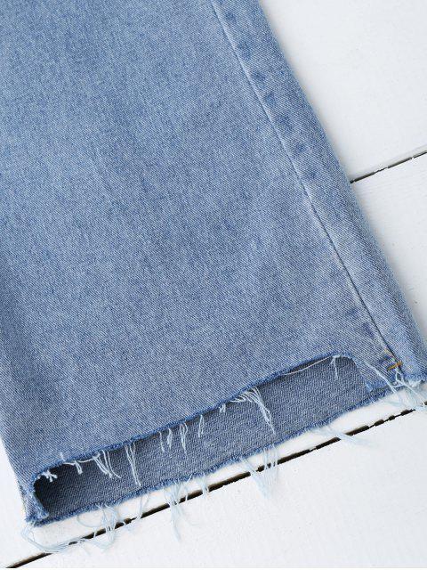 unique High Low Hem Cutoffs Wide Leg Jeans - DENIM BLUE L Mobile