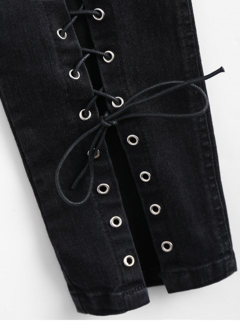 new High Waisted Lace Up Pencil Jeans - BLACK L Mobile