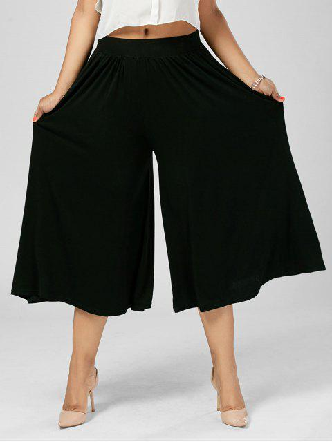 best Plus Size Palazzo Wide Leg Capri Pants - BLACK 5XL Mobile