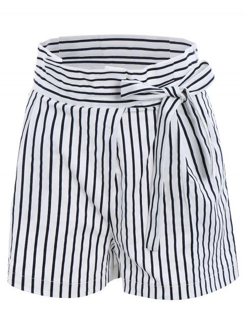 Bowknot Ruffles cintura corta media pantalones - Blanco L Mobile