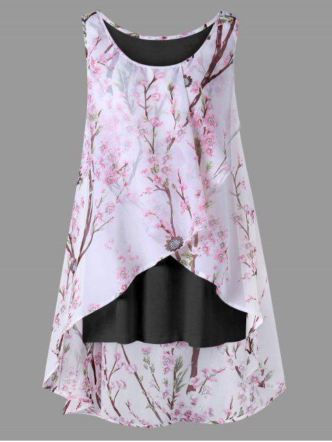 affordable Plus Size Tiny Floral Overlap Sleeveless Top - BLACK XL Mobile