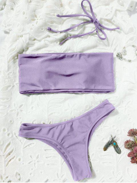 trendy High Cut Bandeau Thong Bathing Suit - LIGHT PURPLE M Mobile