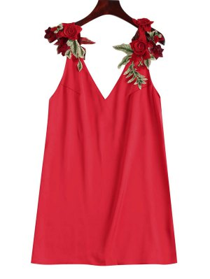 Floral Patched Shift Dress - Red S