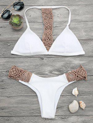 Juego De Bikini Acolchado Con Malla De Macrame - Blanco M