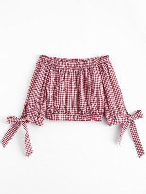 Bowknot Checked Off Shoulder Top - Checked S