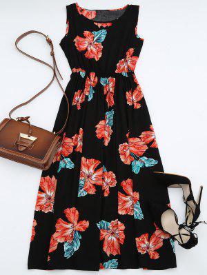 Maxi Vestido Floral Sin Manga Con Cintura Alta - Negro M
