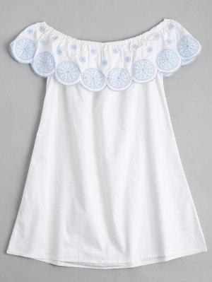 Flounce El Vestido Bordado Hombro - Blanco L
