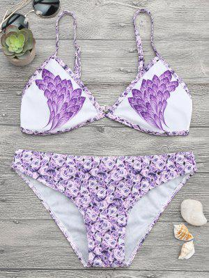Conjunto De Bikini De Plumas - Púrpura S