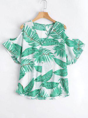 Leaves Print Cold Shoulder Blouse - Jade Green L