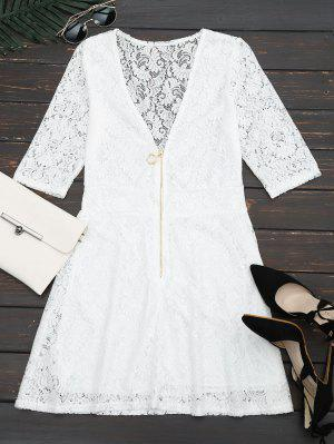 Plunging Neck Half Zip Lace Dress - White L