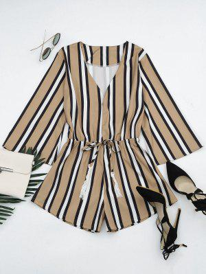 Plunging Neck Tassels Striped Romper - Stripe S