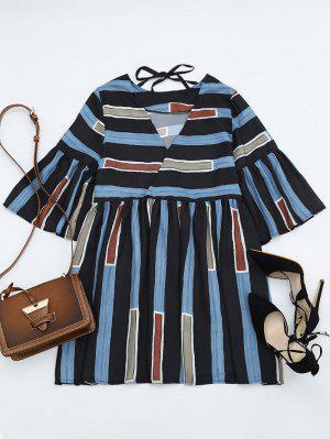 Bell Sleeve V Neck Striped Dress - Stripe