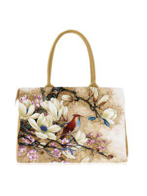 Flower Printed Canvas Handbag