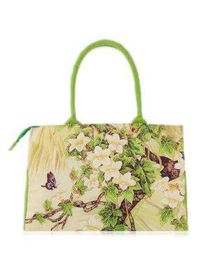 Bolso De La Lona Impresa Flor - Verde