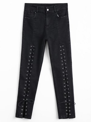High Waisted Encaje Hasta Jeans Lápiz - Negro L